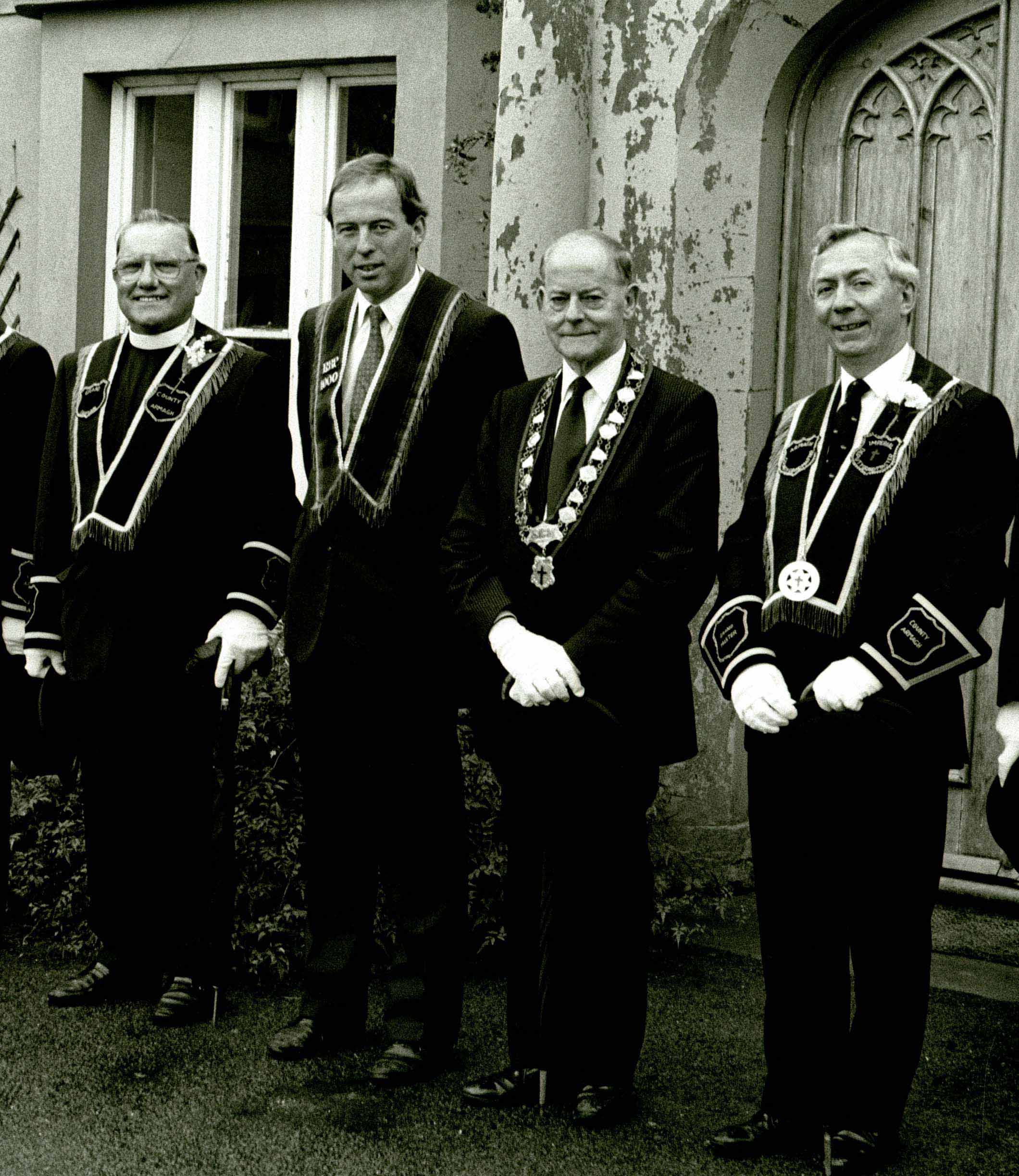 Rev Percy Patterson, Sir Knight Alfred Buller, (Host), Soverign Grand Master James Molyneaux and Sir Knight Sam Gardiner.