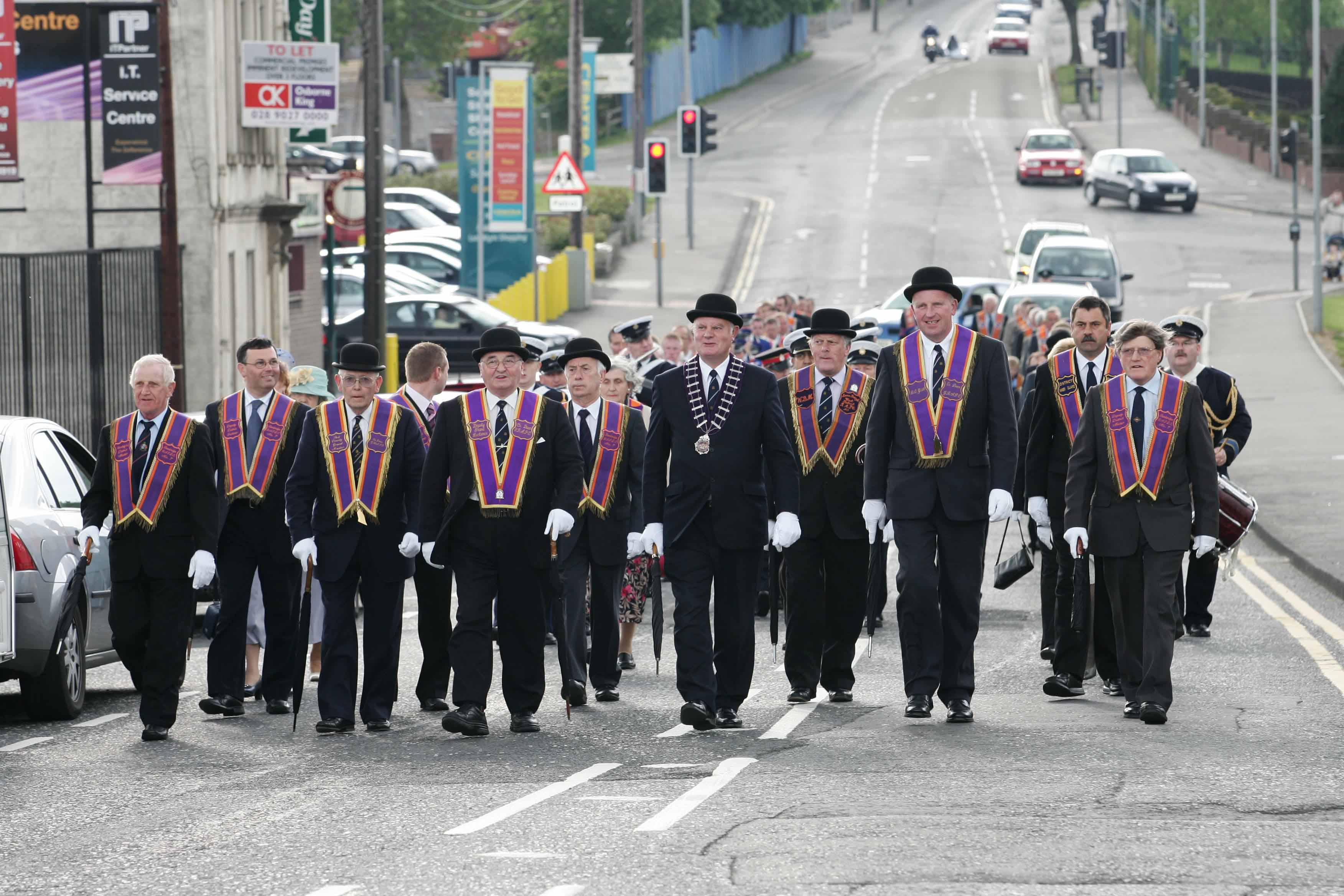 Officers from Banbridge Royal Arch Purple District on parade to Banbridge Baptist Church led by Bro. John Smyth, County Grand Master. 20-41-07.